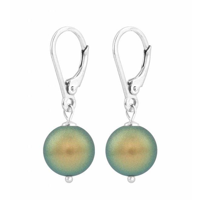 Oorbellen groene parel - sterling zilver - 1225