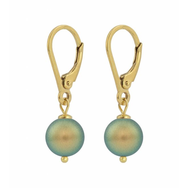 Earrings green pearl - silver gold plated - 1226
