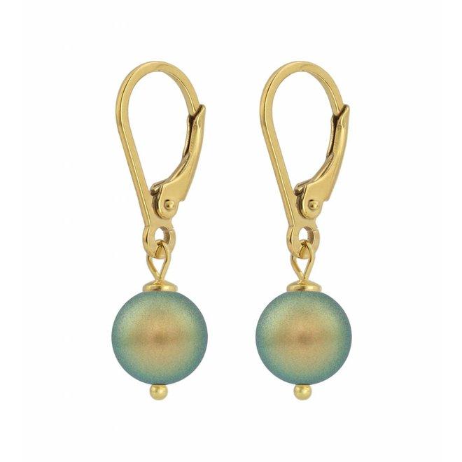 Ohrringe grüne Perle 8mm - Sterling Silber vergoldet - ARLIZI 1226 - Noa