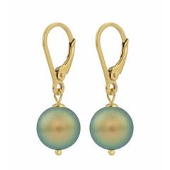 Ohrringe grüne Perle - Silber vergoldet - 1227