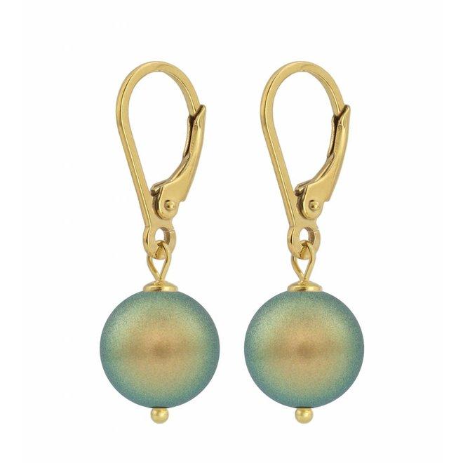 Ohrringe grüne Perle 10mm - Sterling Silber vergoldet - ARLIZI 1227 - Noa