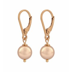 Earrings rose gold pearl - silver rose gold plated - 1229