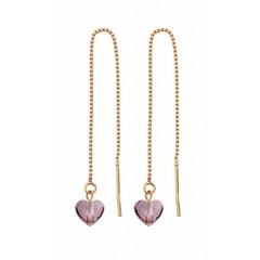 Doortrekoorbellen roze hartje - zilver rosé verguld - 1249