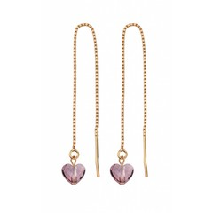 Earrings pink crystal heart - silver rose gold plated - 1249