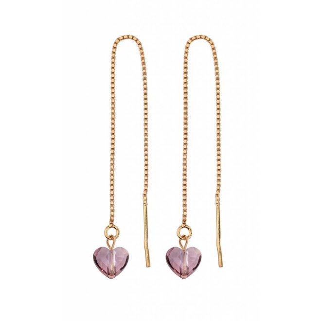 Doortrek oorbellen Swarovski kristal hartje - rosé verguld sterling zilver - ARLIZI 1249 - Emma