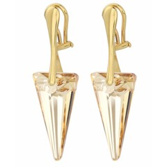 Ear clips crystal spike - silver gold plated - 1247