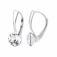 Earrings Swarovski crystal 8mm - silver - 1251