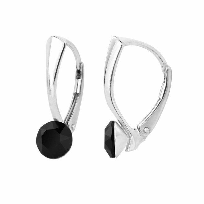 Earrings black Swarovski crystal 6mm - sterling silver - ARLIZI 1252 - Lucy