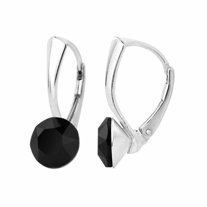 Oorbellen zwart kristal 8mm - zilver - 1253