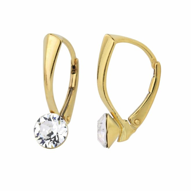 Earrings Swarovski crystal 6mm - silver gold plated - 1260