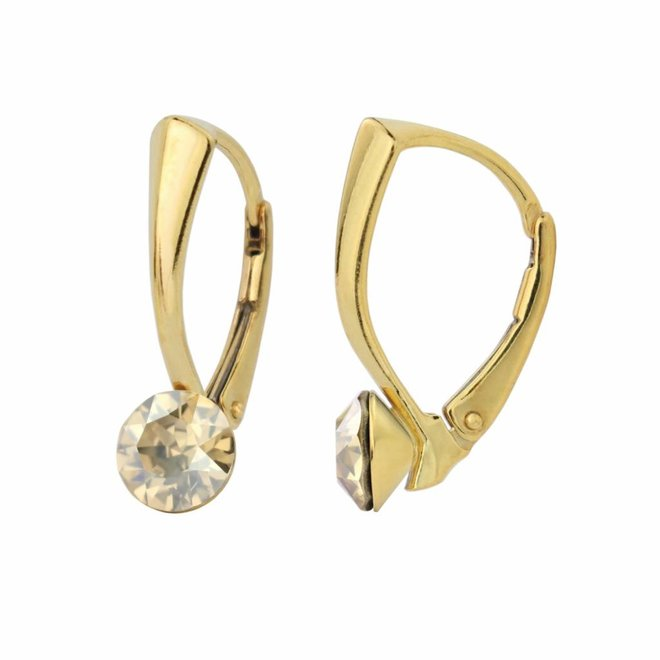 Earrings gold Swarovski crystal 6mm - gold plated sterling silver - ARLIZI 1264 - Lucy