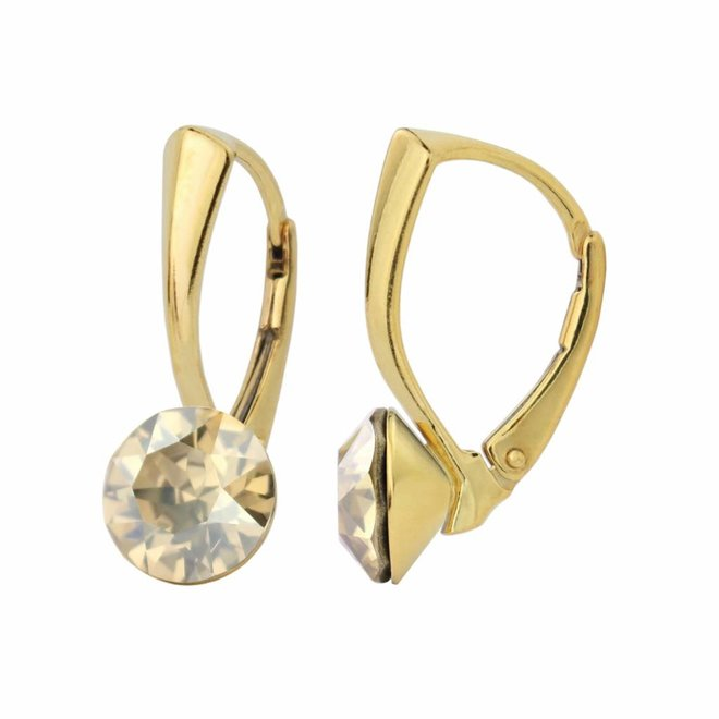 Earrings gold Swarovski crystal 8mm - gold plated sterling silver - ARLIZI 1265 - Lucy