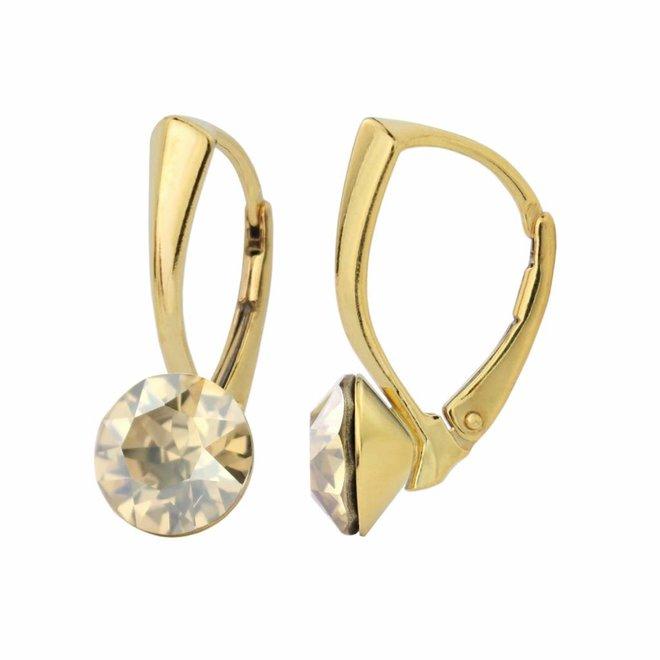 Oorbellen goudkleurig kristal 8mm - zilver verguld - 1265
