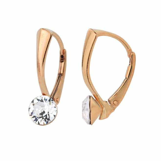 Earrings transparent Swarovski crystal 6mm - rose gold plated sterling silver - ARLIZI 1270 - Lucy