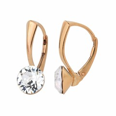 Earrings Swarovski crystal 8mm - silver rose gold plated - 1271