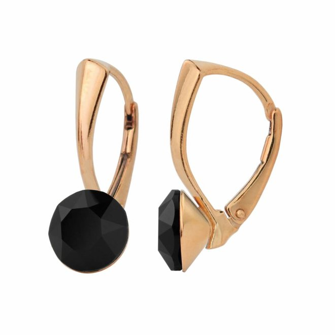 Earrings black Swarovski crystal 8mm - rose gold plated sterling silver - ARLIZI 1273 - Lucy