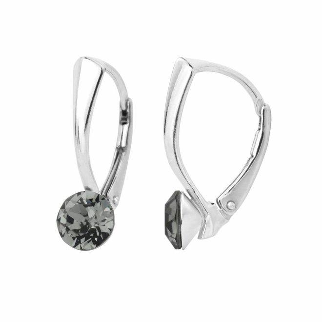 Oorbellen grijs kristal 6mm - zilver - 1254