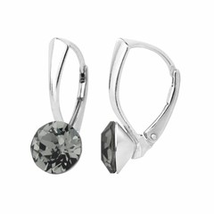 Oorbellen grijs kristal 8mm - zilver - 1255