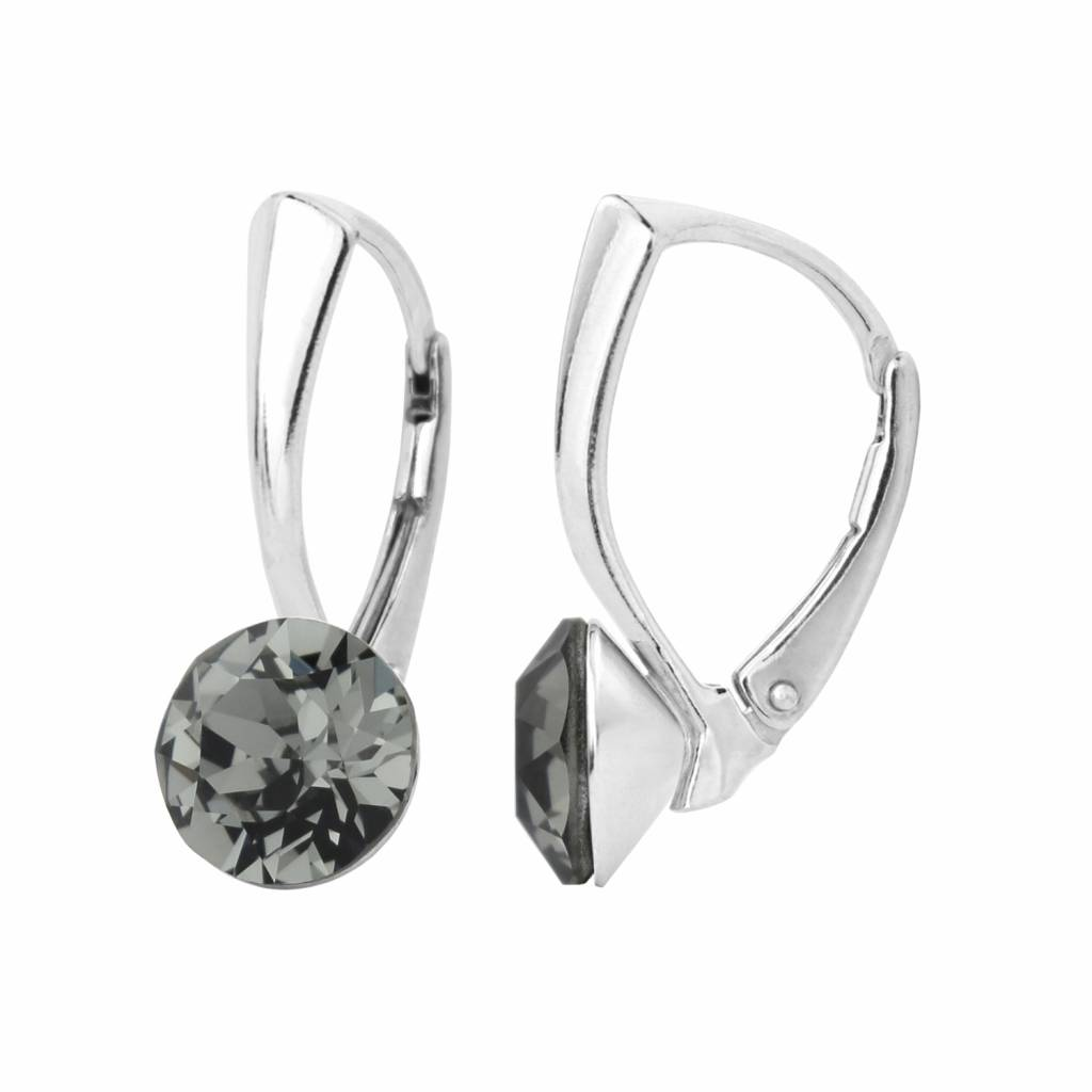 14a0651ae Earrings grey Swarovski crystal 8mm - sterling silver - ARLIZI 1255 - Lucy