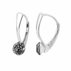 Oorbellen zwart kristal 6mm - zilver - 1258