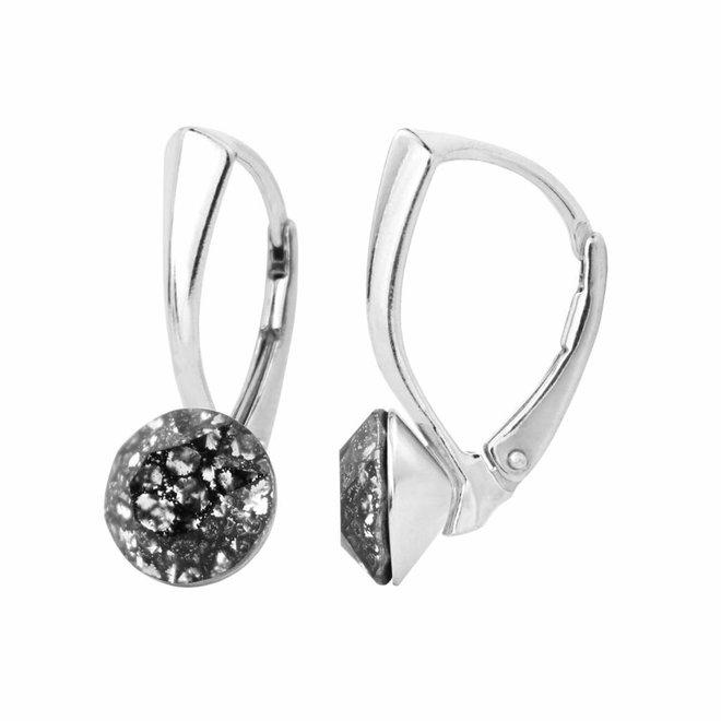 Oorbellen zwart kristal 8mm - zilver - 1259
