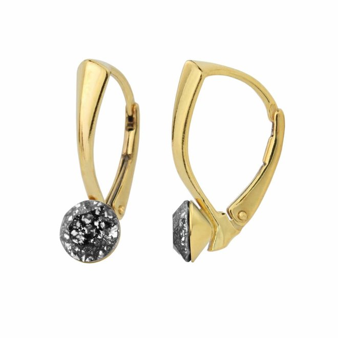 Earrings black patina Swarovski crystal 6mm - gold plated sterling silver - ARLIZI 1268 - Lucy