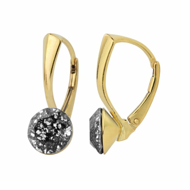 Earrings black patina Swarovski crystal 8mm - gold plated sterling silver - ARLIZI 1269 - Lucy