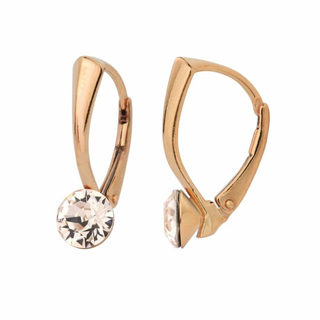 Earrings champagne Swarovski crystal 6mm - rose gold plated sterling silver - ARLIZI 1274 - Lucy