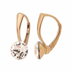 Earrings crystal 8mm - silver rose gold plated - 1275
