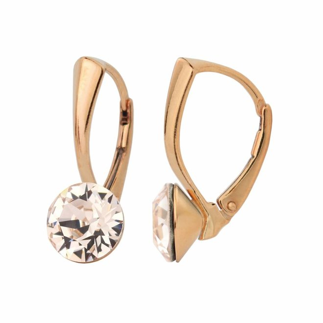Ohrringe champagnefarbig Swarovski Kristall 8mm - Sterling Silber rosé vergoldet - ARLIZI 1275 - Lucy
