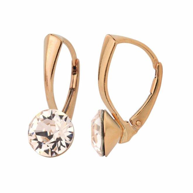 Ohrringe Kristall 8mm - Silber rosé vergoldet - 1275