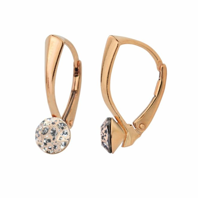 Earrings crystal 6mm - silver rose gold plated - 1278