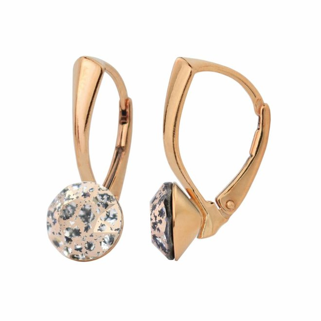 Earrings crystal - silver rose gold plated - 1279