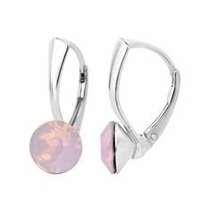 Oorbellen roze opaal kristal - zilver - 1282