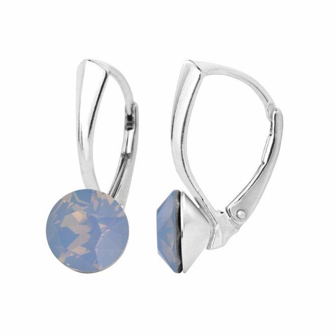 Earrings blue opal Swarovski crystal 8mm - sterling silver - ARLIZI 1283 - Lucy