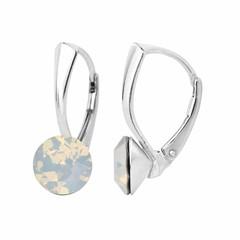 Oorbellen wit opaal kristal - zilver - 1284