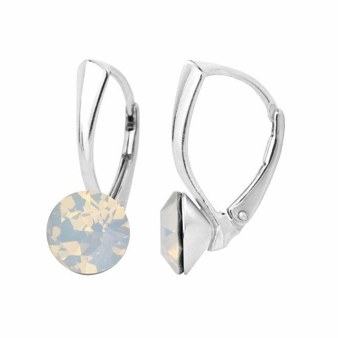 Earrings white opal Swarovski crystal 8mm - sterling silver - ARLIZI 1284 - Lucy