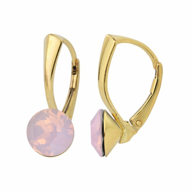 Earrings pink opal crystal - silver gold plated - 1285
