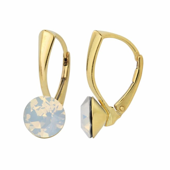 Earrings white opal Swarovski crystal 8mm - gold plated sterling silver - ARLIZI 1287 - Lucy