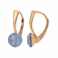 Earrings blue opal crystal - silver rose gold plated - 1289