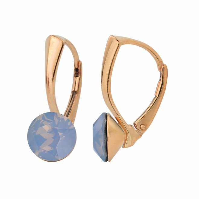 Earrings blue opal Swarovski crystal 8mm - rose gold plated sterling silver - ARLIZI 1289 - Lucy