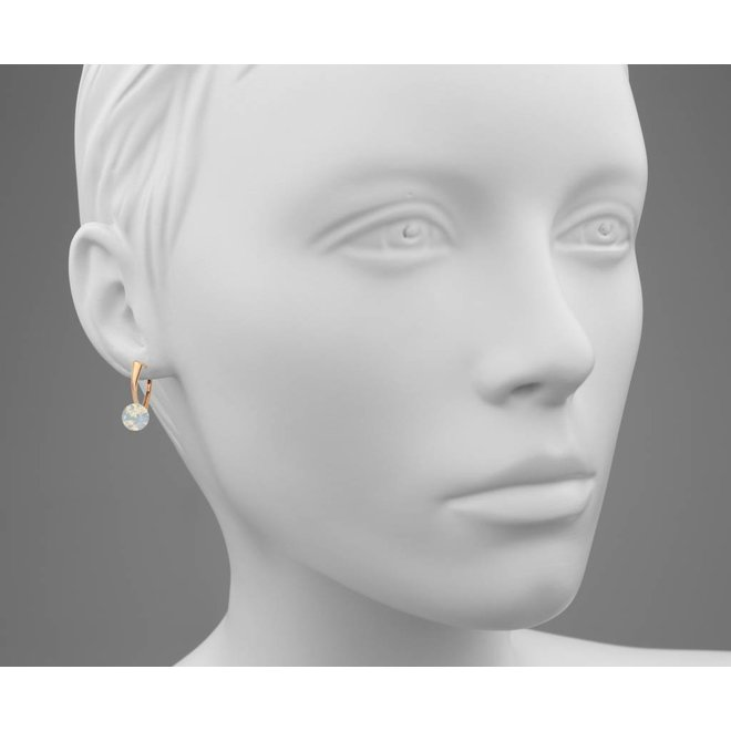 Earrings white opal Swarovski crystal 8mm - rose gold plated sterling silver - ARLIZI 1290 - Lucy