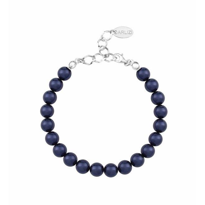 Perlenarmband blau - Sterling Silber - 1126