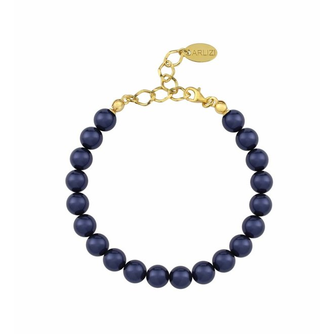 Pearl bracelet blue - silver gold plated - 1127