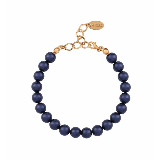Pearl bracelet blue - silver rose gold plated - 1128