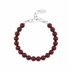 Parel armband rood - sterling zilver - 1129