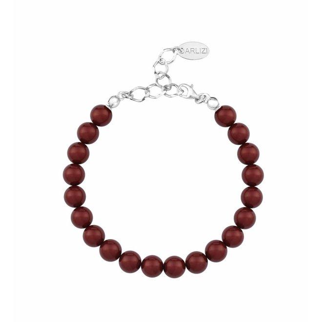 Perlenarmband rot - Sterling Silber - 1129