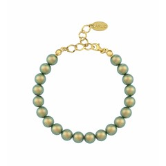 Pearl bracelet green - silver gold plated - 1133