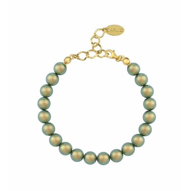 Perlenarmband grün 8mm - Sterling Silber vergoldet - ARLIZI 1133 - Noa