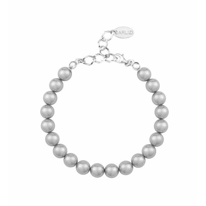 Parel armband licht grijs - sterling zilver - 1123